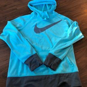Nike Blue Hooded Sweatshirt with Grey Cuffs
